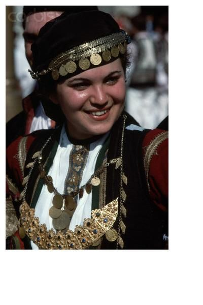 The Greek Folk Costume Karditsa, Thesalia.  She is a Karagouna.