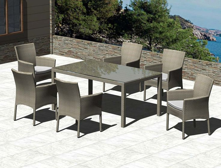 6-Seater BASILAN Dining Table, fully woven with tempered, clear glass and BORACAY Arm Chairs