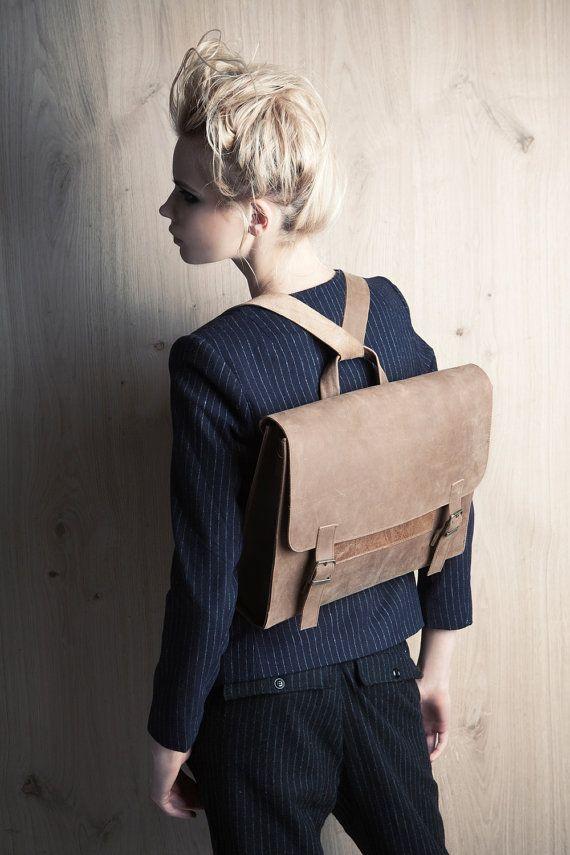 Genuine leather bag, women's retro satchel bag. brown student backpack, School bag, gift for her, laptop bag, messenger bag on Etsy, $385.00