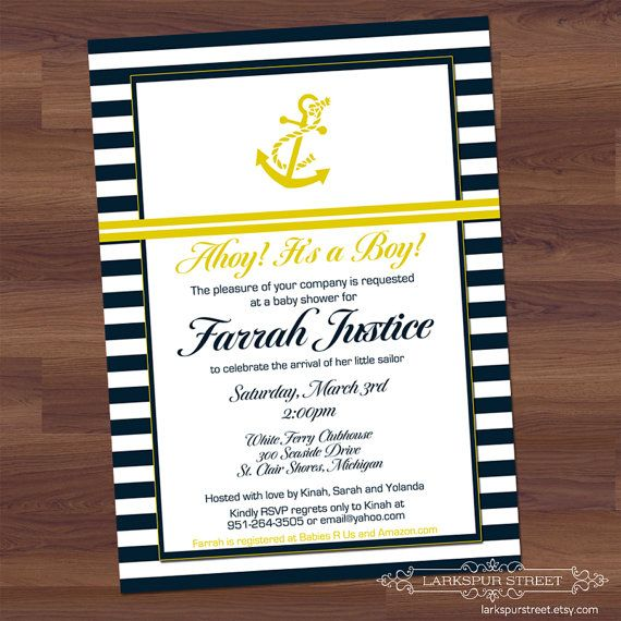 Baby Boy Shower Invitation  Anchors Away  Navy by LarkspurStreet, $15.00
