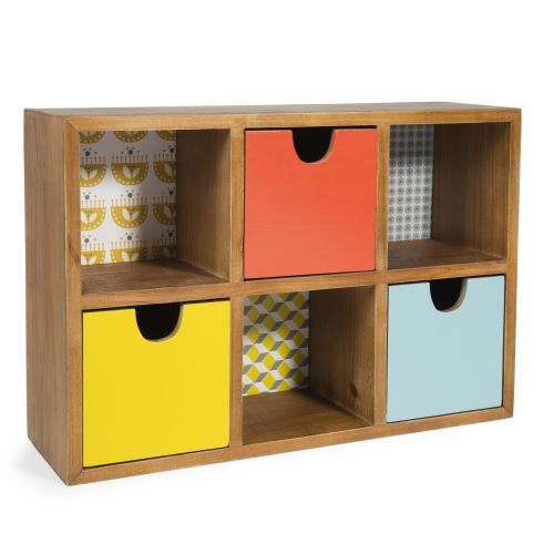 Boîte 3 tiroirs en bois H 26 cm ...