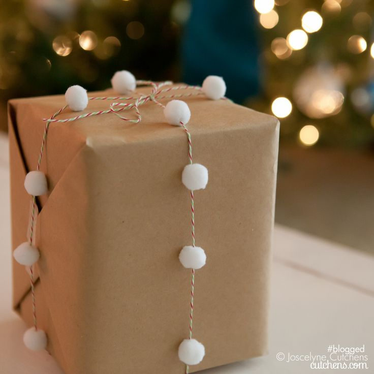 package with baker's twine and pompom