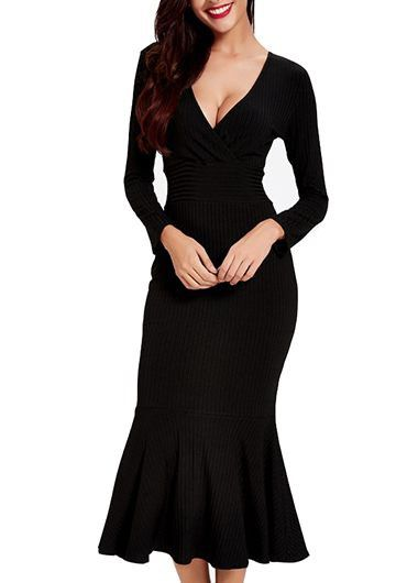V Neck Long Sleeve Black Mermaid Dress on sale only US$34.90 now, buy cheap V Neck Long Sleeve Black Mermaid Dress at lulugal.com