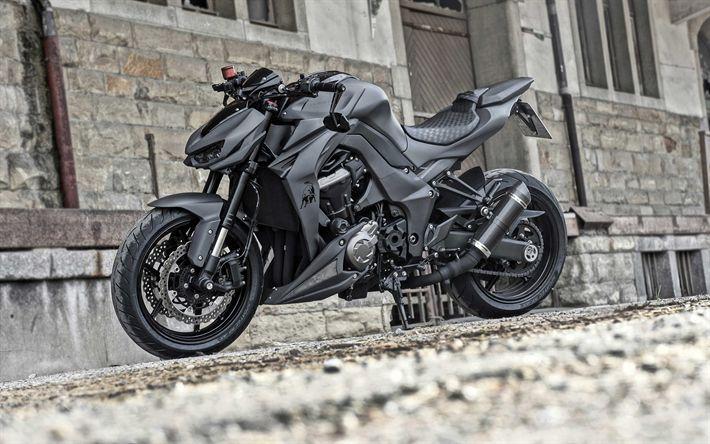 Herunterladen Wallpaper Kawasaki Z1000R, 2018, 4k, schwarz matt Motorrad, …   – Kawasaki – #4k #Herunterladen #Kawasaki #matt #motorrad