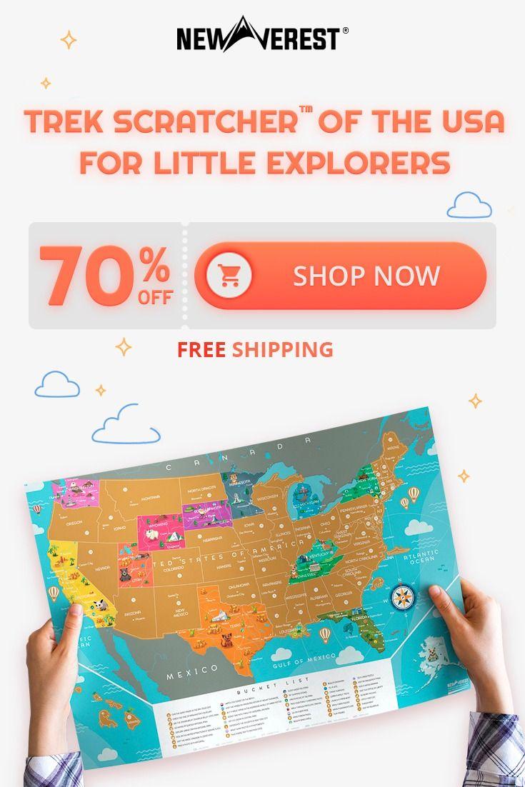 Scratch Off USA Map - Kids Edition