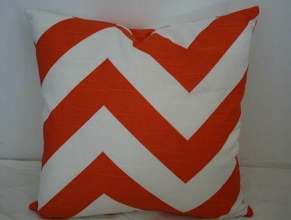 Beautiful Chevron Cushion Cover, Funky Orange and White   Felt