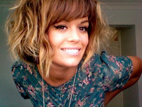 Wish i could do bangs!!   ahhhh messy curly ombre bob obsession. and she has the nerve to have the swoop tooooo j'adore