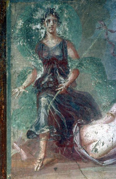 *POMPEII, ITALY ~  Bacchanalian Nymph fresco, House of Ara Maxima. 1st c. AD. The Bridgeman Art Library