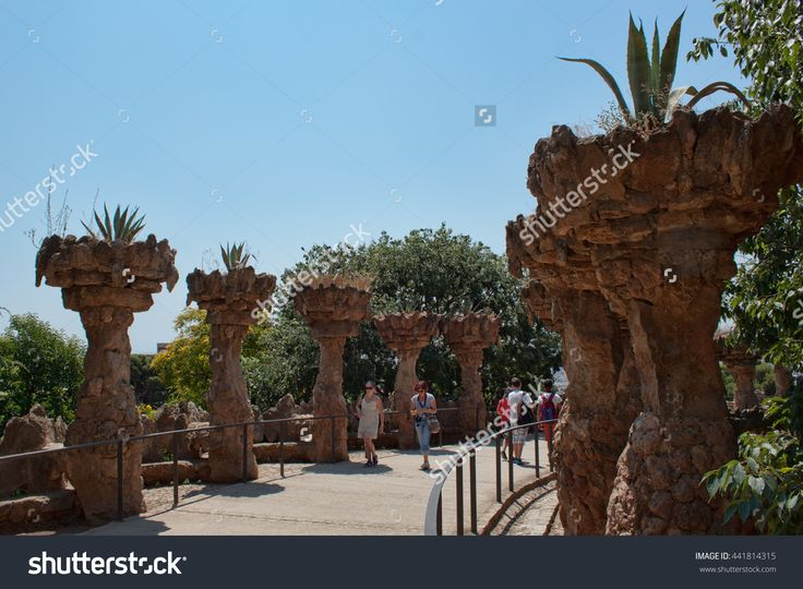 Barcelona, Spain - July 12, 2013: Masterpieces Of Antoni Gaudi In Guell Park Attract Many Tourists Stock Photo 441814315 : Shutterstock