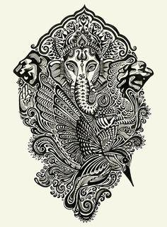 Ganesha, black & white