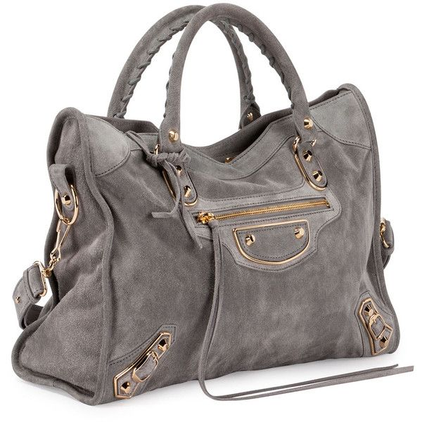 Balenciaga Metallic Edge Suede City Bag ($2,120) ❤ liked on Polyvore featuring bags, handbags, gray tote handbags, suede handbags, studded handbags, zip top tote and metallic purse