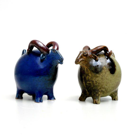 Blue Ceramic Goat, Ram Sculpture, Capricorn, Farmhouse Decor by Jorge Mealha; I admire his simpicity and use of color