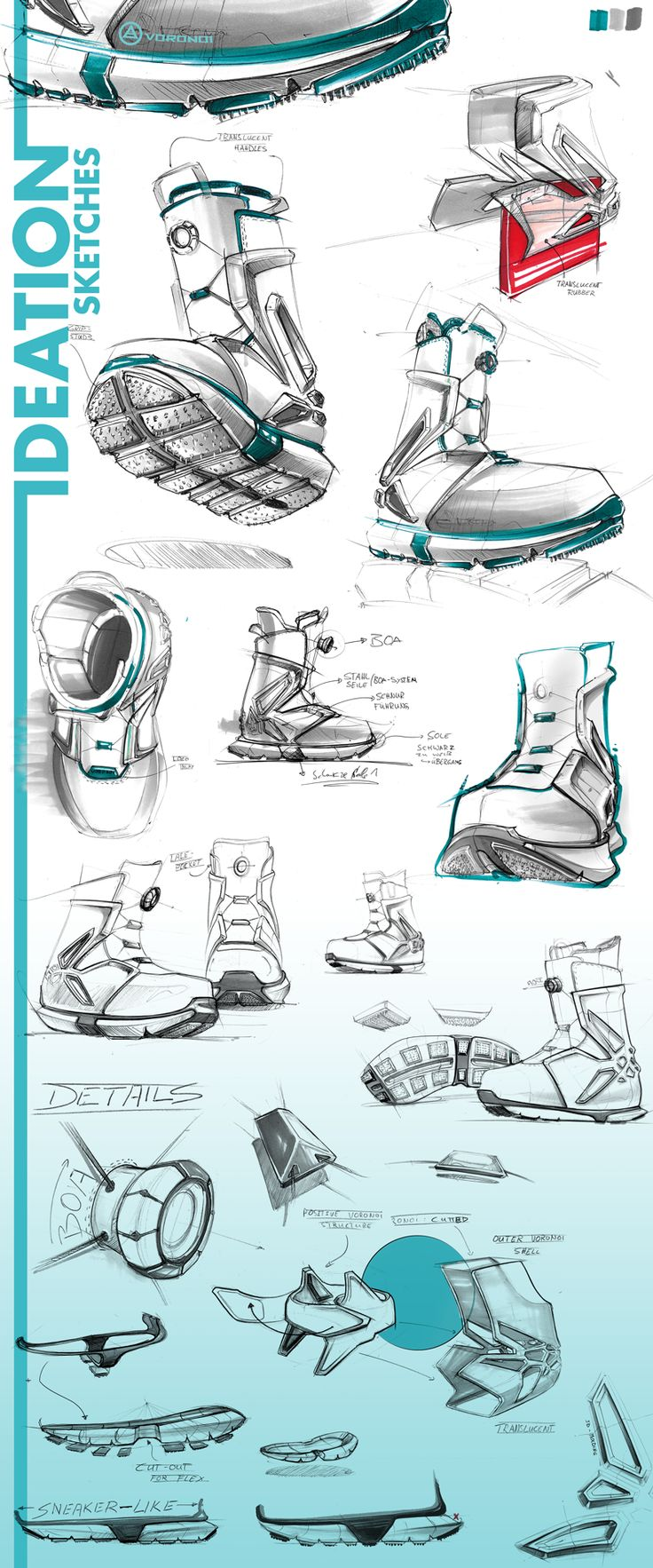 These drawings are stylized in a way that I find too dramatic for a real life shoe. If this were going to be styles as an accessory in a video game I would favor it more, but I cannot get of the odd shape. Aside from that the composition is spacious, semi-clean and fresh. I like their choice of incorporating the text with that line.