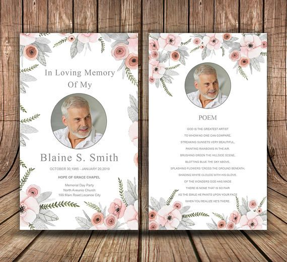 Funeral Prayer Card Template Editable Ms Word Photoshop Template Instant Download In 2021 Funeral Cards Funeral Program Template Card Template