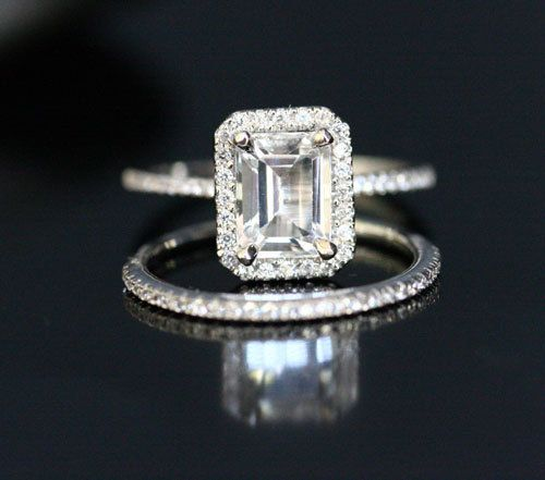 14k White Gold 8x6mm Topaz Emerald Cut Engagement Ring And Diamonds Wedding Band Set