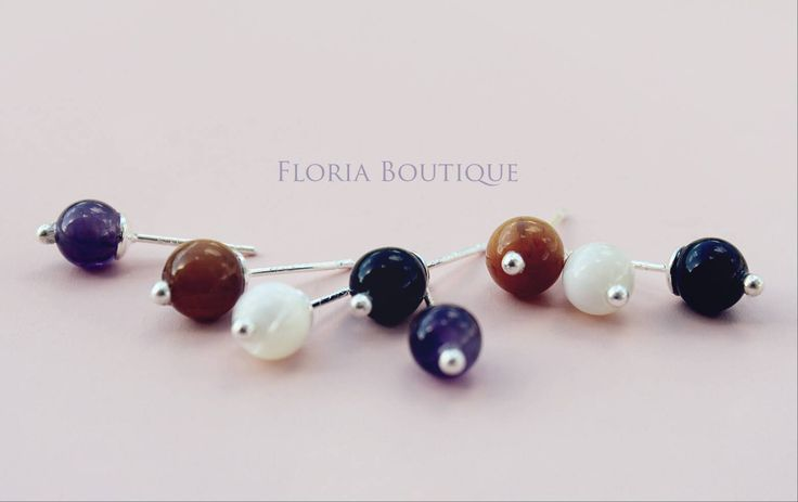 Gemstone Sterling Silver stud earrings by FloriaBoutique on Etsy