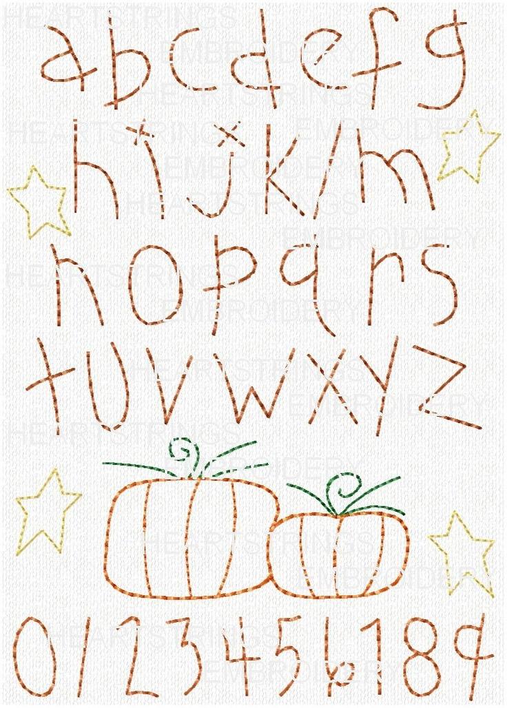 Pumpkin alphabet sampler harvest hand stitchery embroidery