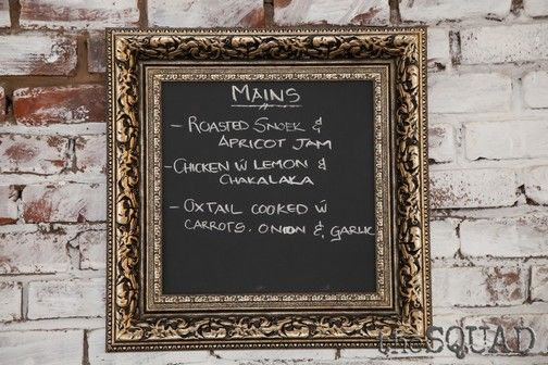 Chalk boards were used to share the menu courses on offer.