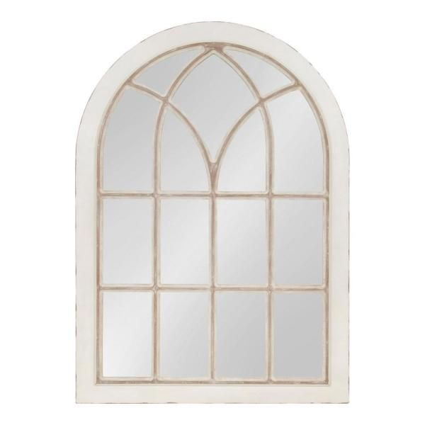 Kate And Laurel Nikoletta Arch White Wall Mirror 214378 Arch Mirror White Wall Mirrors Mirror