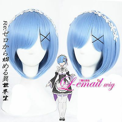 Re Zero kara Hajimeru Isekai Seikatsu Rem Hair Cosplay Wigs Flower Accessories #…