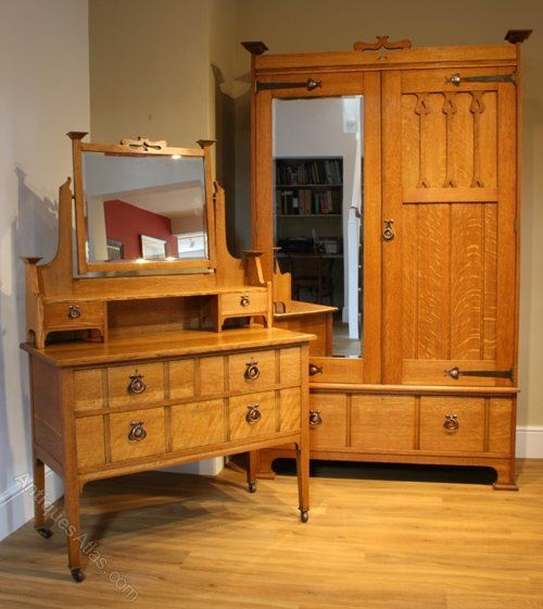 An Arts Amp Crafts Oak Wardrobe And Dressing Table