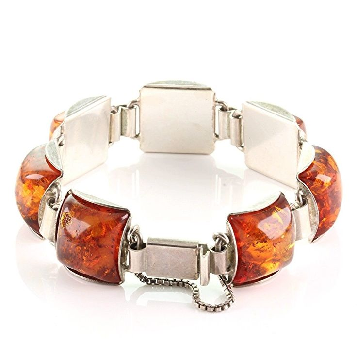 Vintage Armband Quadratförmig echt Silber 835 mit Bernstein amber um