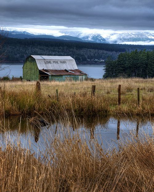 Old barn with a lake and a pond. Much to my husbands distaste, I would want to turn this barn into a house.
