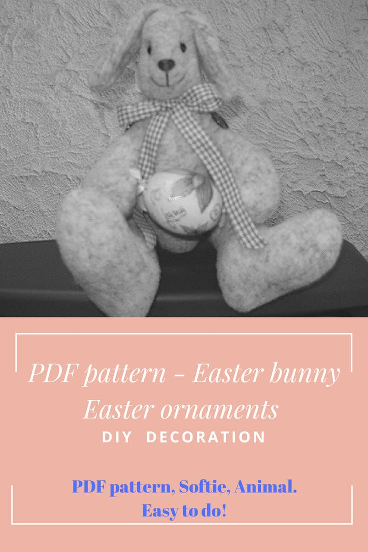 Rabbit PDF, bunny PDF, easy sewing pattern. | Craftsy. PDF pattern Bunny - Easter ornaments - DIY decoration. Bunny PATTERN,  PDF pattern, Softie, Animal. Easy to do!
