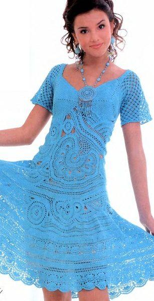 Dress with crochet patterns