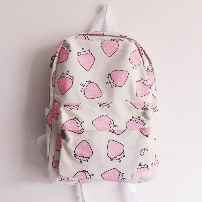 """Strawberry backpack- click the link for more cute looks and use this coupon code """"Douniaabnaamar"""" to get all 10% off,Sponsor Review and Affiliate Program open there!"""