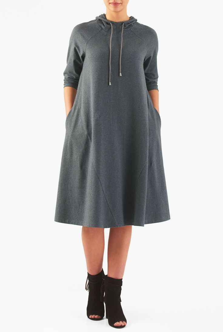 "eShakti Women's Hoodie cotton knit shift dress L-14 Short Charcoal. Slips on over head, Three-quarter length raglan sleeves, Centre seam at the back, Side seam pockets, Below knee length, Cotton/spandex, jersey knit, cross-dyed melange, light stretch, light structured feel, midweight, Machine wash cold, Model is wearing our size M/8, cut for her height of 5'11"". Comes in Petites, Misses and Plus sizes for all heights. Made-to-order, available in sizes 0-36W and three height options…"