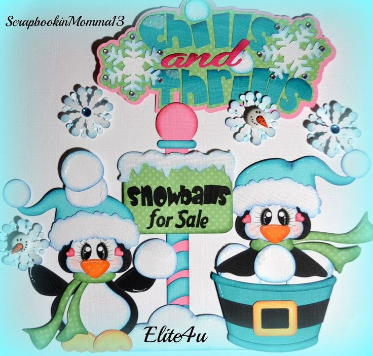 Elite4u Paper Piecing Snow Winter Penguin Set Premade Scrapbook Page Layout