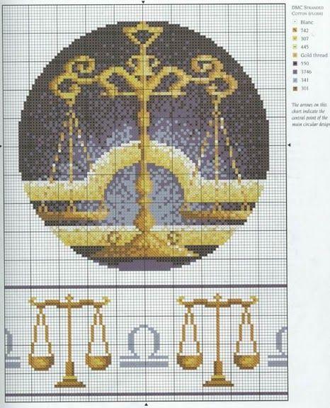 Borduurpatroon Sterrenbeeld Kruissteek *X-Stitch Pattern Zodiac ~Serie 4-10: Weegschaal 24-09/23-10 *Libra~