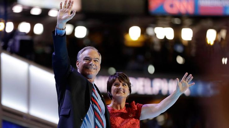 <3 Democratic vice presidential candidate, Sen. Tim Kaine, D-Va., waves with his wife Anne Holton, during the third day session of the Democratic National Convention in Philadelphia, on July 27, 2016. <3  (Matt Rourke; AP)