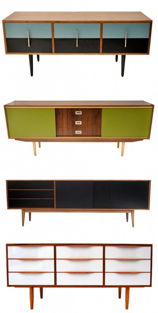 Love these upcycled retro sideboards.