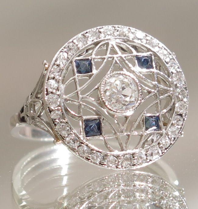 Vintage French Diamond & Sapphire Platinum Ring Art Deco