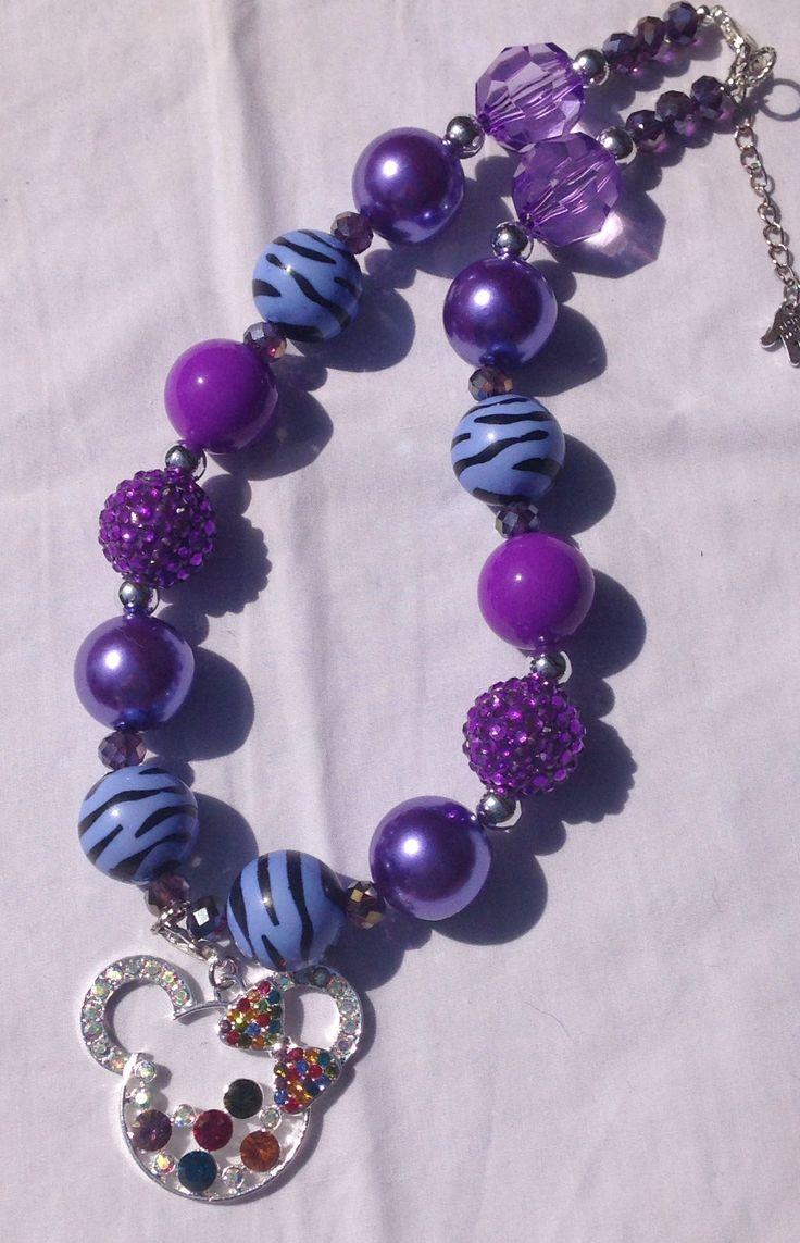 Gumball necklace blue and purple mouse rhinestone pendant AU $15