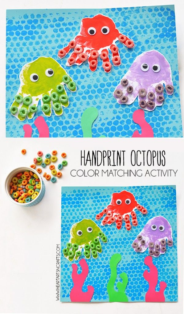 Handprint Octopus Color Matching Activity for Preschoolers. Teach your students the colors of the rainbow while having fun crafting at the same time.