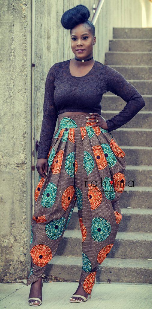 Circle pleated harem pant African