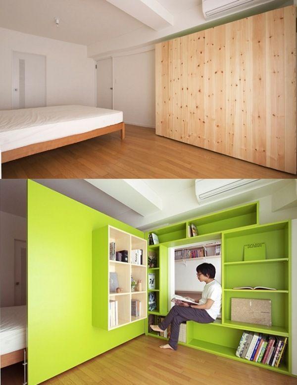 Multifunktionale Trennwand funktioniert als Schrank  Kreative Raumteiler Raumtrennung Einbau Schrank-Regale Holz-Tür öffenbar