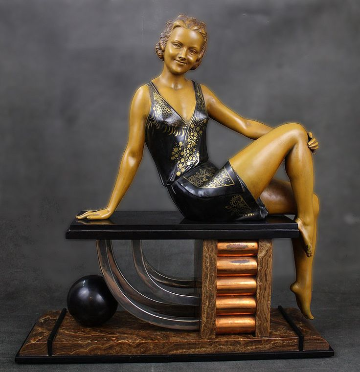 Large art deco spelter font d 39 art figure by enrique molins balleste fr - Statuette art deco femme ...