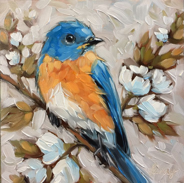 A personal favorite from my Etsy shop https://www.etsy.com/listing/495888151/bluebird-painting-original-oil-painting