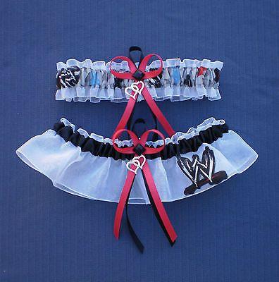 WWE Raw Wrestling Fabric Jewel Wedding Bridal Garter Set Double Heart Charm