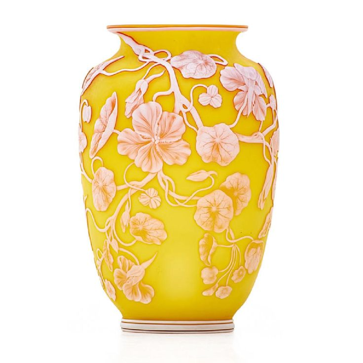 """THOMAS WEBB & SONS Fine Cameo Glass Vase  Fine vase with nasturtiums and bees, England, ca. 1890 Acid-etched and wheel-carved cameo glass Etched Nasturtium to base 8 1/4"""" x 5"""""""