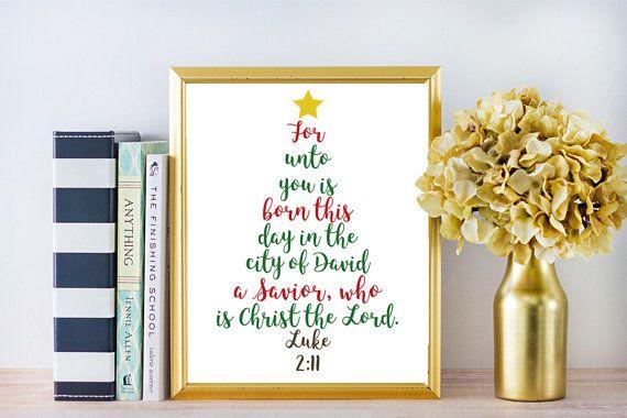 Christmas Scripture Wall Art | Luke 2:11 | For unto you is born | Bible Verse | Digital Art Print Printable Art - INSTANT DOWNLOAD