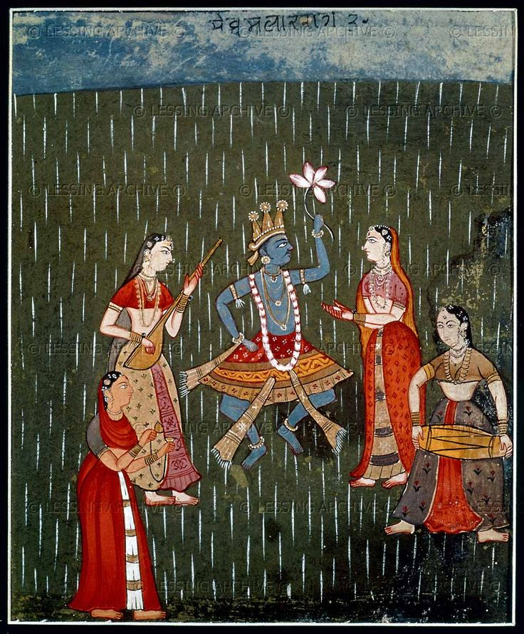 Krishna and Radha dancing in the rain with three girl musicians. India; Rajasthani miniature painting, 17th century.