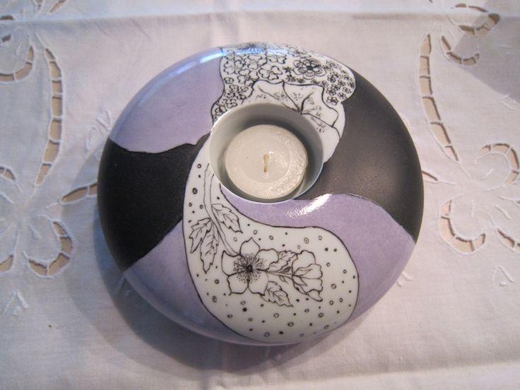 Lin van porcelaines peinture sur porcelaine bougeoirs en for Motif peinture