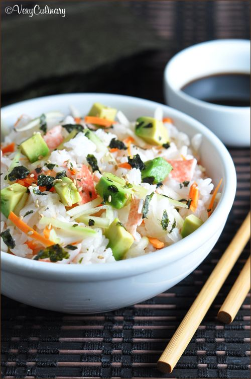 California Rolls deconstructed - all the ingredients, but served in a bowl, without the rolling. But just as yummy!