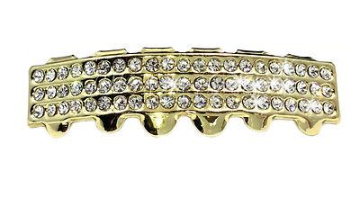 *2ND* 14k Gold Plated BOTTOM Teeth Grillz Iced Out mouth grill REAL ICY BLING!!!