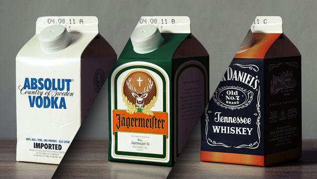 """Une création du collectif Jorn (Allemagne). Le but était de créer une série de bouteilles d'alcool écologiques (d'où le nom """"Ecohols"""") en utilisant un emballage Tetra Pak. Cependant, en utilisant la forme et la taille de briques de lait/chocolat destinées normalement aux enfants tout en conservant la charte et l'aspect graphiques des étiquettes des bouteilles originales,on obtient un décalage qui crée et attire le possible consommateur/ spectateur."""